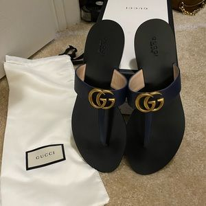 Gucci T-Strap Sandal, Blue Agata